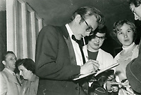 1955 James Dean signing autographs at Ciro's Nightclub in West Hollywood