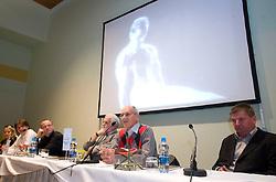 "Miro Cerar, Joze Kostanjevec at presentation of a new book of one of the best Slovenian gymnast Miro Cerar named ""Miroslav Cerar in njegov cas - Miroslav Cerar and his time"" at his 70 years anniversary, on October 30, 2009, in Hotel Mons, Ljubljana, Slovenia.   (Photo by Vid Ponikvar / Sportida)"