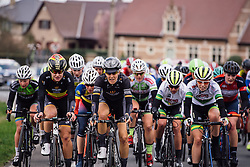 Jolien D'hoore and Dani King are relaxed on the front of the bunch - Dwars door Vlaanderen 2016, a 103km road race from Tielt to Waregem, on March 23rd, 2016 in Flanders, Netherlands.