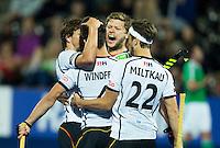 LONDON -  Unibet Eurohockey Championships 2015 in  London.  Ireland v Germany 0-1. Lukas Windfeder has scored 0-1 and celebrates with Martin Häner and Marco Miltkau (r).   WSP Copyright  KOEN SUYK