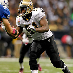 October 23, 2011; New Orleans, LA, USA; New Orleans Saints linebacker Jonathan Vilma (51) against the Indianapolis Colts during the third quarter of a game at the Mercedes-Benz Superdome. The Saints defeated the Colts 62-7. Mandatory Credit: Derick E. Hingle-US PRESSWIRE / © Derick E. Hingle 2011