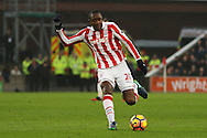 Gianelli Imbula of Stoke City looks to shoot at goal. Premier league match, Stoke City v Leicester City at the Bet365 Stadium in Stoke on Trent, Staffs on Saturday 17th December 2016.<br /> pic by Chris Stading, Andrew Orchard sports photography.