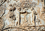 Bas-relief sculpture panel scene of Eve giving Adam an apple by Maitani around 1310 on the14th century Tuscan Gothic style facade of the Cathedral of Orvieto, Umbria, Italy .<br /> <br /> Visit our ITALY HISTORIC PLACES PHOTO COLLECTION for more   photos of Italy to download or buy as prints https://funkystock.photoshelter.com/gallery-collection/2b-Pictures-Images-of-Italy-Photos-of-Italian-Historic-Landmark-Sites/C0000qxA2zGFjd_k<br /> .<br /> <br /> Visit our MEDIEVAL PHOTO COLLECTIONS for more   photos  to download or buy as prints https://funkystock.photoshelter.com/gallery-collection/Medieval-Middle-Ages-Historic-Places-Arcaeological-Sites-Pictures-Images-of/C0000B5ZA54_WD0s