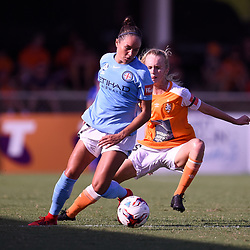 BRISBANE, AUSTRALIA - FEBRUARY 11: Kyah Simon of Melbourne controls the ball under pressure from Kaitlyn Torpey of the Roar during the Westfield W-League Semi Final match between the Brisbane Roar and Melbourne City at Perry Park on February 11, 2018 in Brisbane, Australia. (Photo by Patrick Kearney / Brisbane Roar)