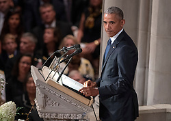 Former United States President Barack Obama speaks at the funeral service for the late US Senator John S. McCain, III (Republican of Arizona) at the Washington National Cathedral in Washington, DC, USA on Saturday, September 1, 2018. Photo by Ron Sachs/CNP/ABACAPRESS.COM