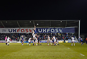The ball is thrown into a line out during a 39-0 victory for Sale Sharks in the Gallagher Premiership Rugby Union match, Friday, Mar. 6, 2020, in Eccles, United Kingdom. (Steve Flynn/Image of Sport)