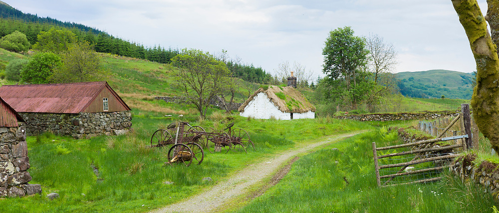 Old farming scene at Auchindrain highland farming township settlement and village folklore museum at Furnace near Inveraray in the Highlands of Scotland