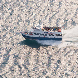 Aerial views of the Starline High Speed Ferry,<br /> and St. Ignace tourist destinations.