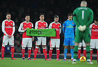 Football - 2016 / 2017 League [EFL] Cup - Quarter-Final: Arsenal vs. Southampton<br /> <br /> The Arsenal players lead by Brazian Gabriel hold a minutes silence at The Emirates for the Brazilian Air crash disaster where a whole Brazil team were killed <br /> <br /> COLORSPORT/ANDREW COWIE
