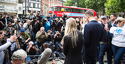 London, July 24th 2017. The parents of terminally ill baby Charlie Gard, Connie Yates and Chris Gard leave the High Court and read a statement to the media in London after capitulating in their legal battle to continue life support for their child who suffers from mitochondrial disease, at Great Ormond Street Hospital.