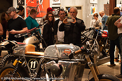 Curtis Miller takes a photo of his custom Ardent Motorcycles Harley-Davidson 2009 Sportster Cafe Racer on Saturday in the Handbuilt Motorcycle Show. Austin, TX, USA. April 9, 2016.  Photography ©2016 Michael Lichter.