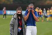 Everton defender Rikke Sevecke (22) is consoled during the FA Women's Super League match between Everton Women and Brighton and Hove Albion Women at the Select Security Stadium, Halton, United Kingdom on 18 October 2020.