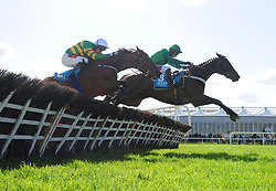 Fusil Raffles and Daryl Jacob (right) win the Grade 1 AES Champion Four Year Old Hurdle during day five of the Punchestown Festival at Punchestown Racecourse, County Kildare, Ireland.
