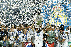 (L-R) Jesus Vallejo of Real Madrid, Nacho of Real Madrid, Karim Benzema of Real Madrid, Luka Modric of Real Madrid, Marcelo of Real Madrid  with UEFA Champions League trophy, Coupe des clubs Champions Europeens, goalkeeper Keylor Navas of Real Madrid, Isco of Real Madrid during the UEFA Champions League final between Real Madrid and Liverpool on May 26, 2018 at NSC Olimpiyskiy Stadium in Kyiv, Ukraine