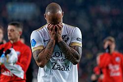 Sean Klaiber #17 of FC Utrecht reacts after the semi final KNVB Cup between FC Utrecht and Ajax Amsterdam at Stadion Nieuw Galgenwaard on March 04, 2020 in Amsterdam, Netherlands