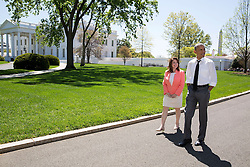 President Barack Obama and Shanna Peeples, the 2015 National Teacher of the Year, walk on the North Grounds of the White House on their way to Teaism in Washington, D.C., April 29, 2015. (Official White House Photo by Pete Souza)<br /> <br /> This official White House photograph is being made available only for publication by news organizations and/or for personal use printing by the subject(s) of the photograph. The photograph may not be manipulated in any way and may not be used in commercial or political materials, advertisements, emails, products, promotions that in any way suggests approval or endorsement of the President, the First Family, or the White House.