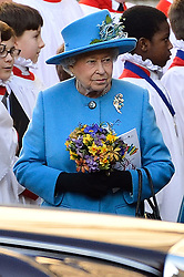 © Licensed to London News Pictures. 14/03/2016. The Queen attends the Commonwealth Day Observance Service At Westminister Abbey. The annual multi-faith service is a celebration of the Commonwealth London, UK.  Photo credit: Ray Tang/LNP