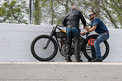 Ken Curtis on his 61 ci racer in the Sons of Speed Vintage Motorcycle Races at New Smyrina Speedway. New Smyrna Beach, USA. Saturday, March 9, 2019. Photography ©2019 Michael Lichter.