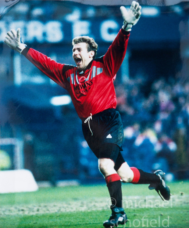 Andy Goram cele. Pictures and pages from the time at Rangers News 1989 to 1993..©Michael Schofield.