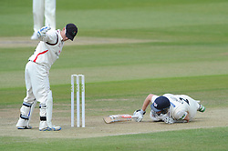 Michael Klinger of Gloucestershire dives to prevent being run out - Photo mandatory by-line: Dougie Allward/JMP - Mobile: 07966 386802 - 08/06/2015 - SPORT - Football - Bristol - County Ground - Gloucestershire Cricket v Lancashire Cricket Day 2 - LV= County Championship
