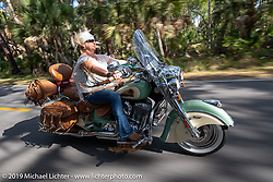 Andrea Young riding her Indian Chieftan on a ride through Tomoka State Park during Daytona Beach Bike Week, FL. USA. Friday, March 15, 2019. Photography ©2019 Michael Lichter.