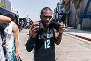 THOUSAND OAKS, CA Sunday, August 12, 2018 - Nike Basketball Academy. De'Vion Harmon 2019 #12 of John H. Guyer HS poses outside. <br /> NOTE TO USER: Mandatory Copyright Notice: Photo by Jon Lopez / Nike