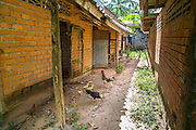 29 OCTOBER 2012 - MAYO, PATTANI, THAILAND:  Chickens peck in the dirt between rows of patients' rooms at the Bukit Kong home in Mayo, Pattani. The home opened 27 years ago as a ponoh school, or traditional Islamic school, in the Mayo district of Pattani. Shortly after it opened, people asked the headmaster to look after individuals with mental illness. The headmaster took them in and soon the school was a home for the mentally ill. Thailand has limited mental health facilities and most are in Bangkok, more than 1,100 kilometers (650 miles) away. The founder died suddenly in 2006 and now his widow, Nuriah Jeteh, struggles to keep the home open. Facilities are crude by western standards but the people who live here have nowhere else to go. Some were brought here by family, others dropped off by the military or police. The home relies on donations and gets no official government support, although soldiers occasionally drop off food. Now there are only six patients, three of whom are kept chained in their rooms.  Jeteh says she relies on traditional Muslim prayers, holy water and herbal medicines to treat the residents. Western style drugs are not available and they don't have a medic on staff.    PHOTO BY JACK KURTZ