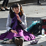 A Japanese busking at Leicester Square, London, UK 23 September 2018.