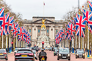 United Kingdom flags fly around the Pall Mall Street towards Buckingham Palace in London on Jan. 31, 2020, ahead of the country's departure from the European Union. (Photo/Vudi Xhymshiti)