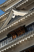 Architecture of Matsumoto Castle captured from low angle, Matsumoto Japan