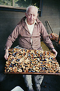 """Y-870916. """"Frank Lockyear. picking & drying Oregon plums. Wilsonville. September 16, 1987"""" (35mm color negative)"""
