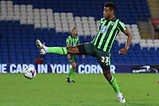 Lyle Taylor of AFC Wimbledon during the Capital One Cup match between Cardiff City and AFC Wimbledon at the Cardiff City Stadium, Cardiff, Wales on 11 August 2015. Photo by Stuart Butcher.
