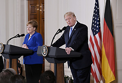 US President Donald Trump speaks during a joint press conference with Germany's Chancellor Angela Merkel in the East Room of the White House on April 27, 2018 in Washington, DC. Photo by Olivier Douliery/Abaca Press