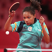 TOKYO, JAPAN - JULY 24: Chelsea Edghill of Guyana in against Sally Yea of Fiji in the Women's Singles  Preliminary Round in the Tokyo Metropolitan Gymnasium at the Tokyo 2020 Summer Olympic Games  on July 24, 2021 in Tokyo, Japan. (Photo by Tim Clayton/Corbis via Getty Images)