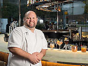 Editorial portrait of Chef Matt Hanck, at Savor Gastropub, Dallas Texas.