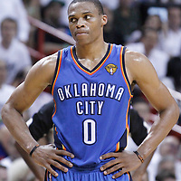 21 June 2012:Oklahoma City Thunder point guard Russell Westbrook (0) looks dejected  during the Miami Heat 121-106 victory over the Oklahoma City Thunder, in Game 5 of the 2012 NBA Finals, at the AmericanAirlinesArena, Miami, Florida, USA. The Miami Heat wins the series 4-1.