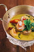 Green curry prepared at the Four Seasons Resort cooking school, Chiang Mai