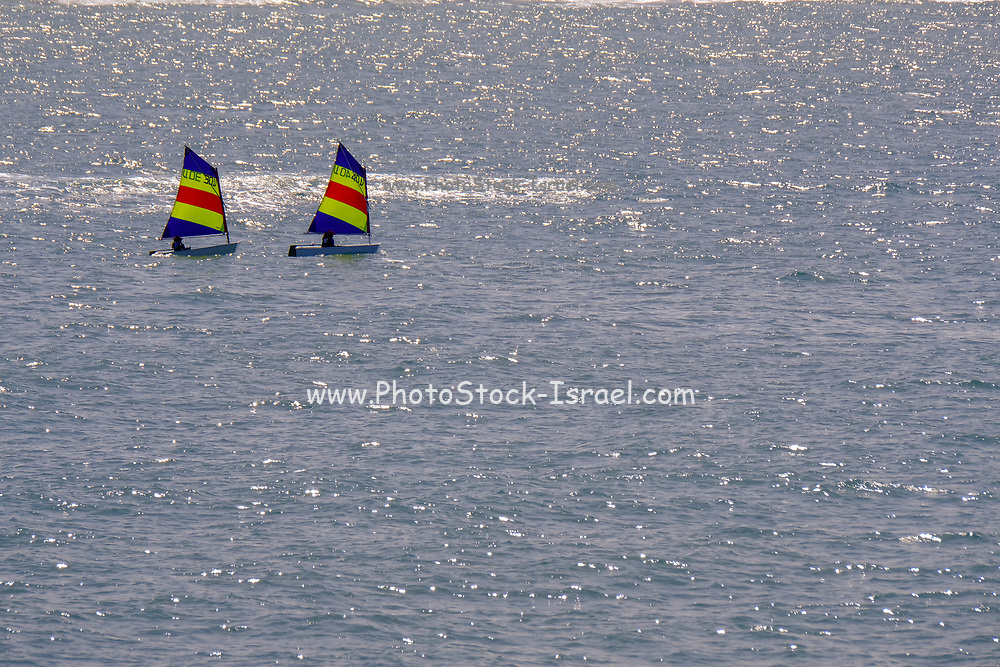 Sail boat in the Mediterranean Sea. Photographed in off the coast of Israel