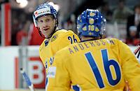 Marcus Nilson (SWE) und Johan Andersson (SWE) jubeln nach dem 3:0. © Manu Friederich/EQ Images