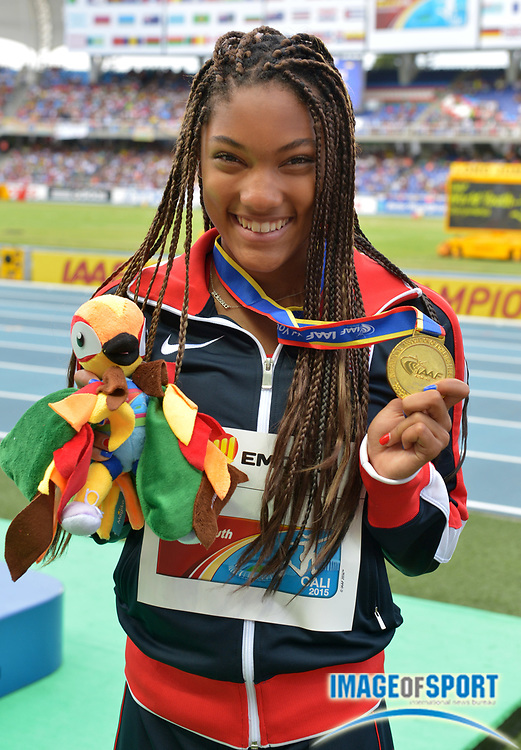 Jul 19, 2015, Cali, Columbia; Tara Davis (USA) poses with the gold medal after winning the womens long jump at 21-0 1/2 (6.41m) during the 2015 IAAF World Youth Championships at Estadio Olimpico Pascual Guerrero.