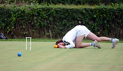 © Licensed to London News Pictures. 14/08/2013. Surbiton, UK. Rutger Beijderwellen, England in action. People participate in the14th World Association Croquet Championship at the Surbiton Croquet Club, Kingston upon Thames on the 14th August 2013. The Final will be played on Sunday 18th August. 80 competitors from 20 countries are taking part. Photo credit : Mike King/LNP