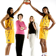 Los Angeles Sparks owners Carla Christofferson, back right, and Kathy Goodman, back left.