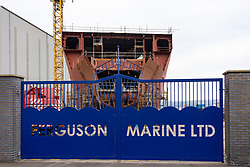 Port Glasgow, Scotland, UK. 7 February, 2020.  General views of Ferguson Marine shipyard at Port Glasgow. Scottish Budget announced an extra £49 million for the troubled nationalised shipyard on the River Clyde. Two ferries under construction at the yard for Caledonian MacBrayne are over budget and much delayed. An enquiry into the procurement process for the two ferries is currently ongoing at the Scottish Parliament at Holyrood in Edinburgh.  Iain Masterton/Alamy Live News.
