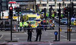 © Licensed to London News Pictures. 22/03/2017. London, UK. Police at the scene of suspected terrorist attack near Houses of Parliament in Westminster, London. Photo credit: Ben Cawthra/LNP