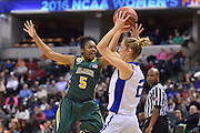 April 4, 2016; Indianapolis, Ind.; Christina Davis harasses Nicole Hampton in the back court in the NCAA Division II Women's Basketball National Championship game at Bankers Life Fieldhouse between UAA and Lubbock Christian. The Seawolves lost to the Lady Chaps 78-73.