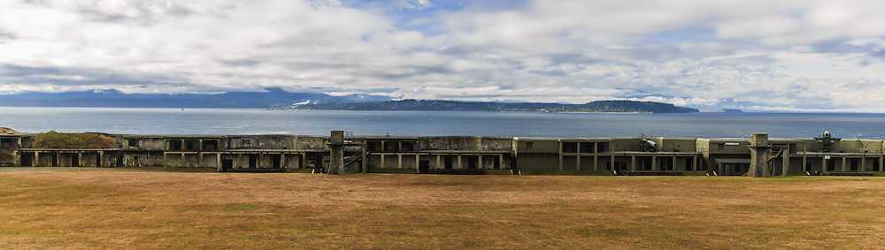 """Admiralty Inlet was considered so strategic to the defense of Puget Sound in the 1890s that three forts, Fort Casey on Whidbey Island, Fort Flagler on Marrowstone Island, and Fort Worden at Port Townsend, were built at the entrance with huge guns creating a """"Triangle of Fire."""" This military strategy was built on the theory that the three fortresses would thwart any invasion attempt by sea. Fort Casey is now a 467 acres (1.89 km2) marine camping park."""