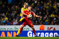March 23, 2019 - Stockholm, SWEDEN - 190323 Filip Helander of Sweden and George Puscas of Romania compete for the ball during the UEFA Euro Qualifier football match between Sweden and Romania on March 23, 2019 in Stockholm..Photo: Joel Marklund / BILDBYRÃ…N / kod JM / 87914 (Credit Image: © Joel Marklund/Bildbyran via ZUMA Press)