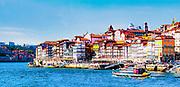 Digitally enhanced Panoramic image of Ribeira, Old Town, Porto, Portugal as seen from Vila Nova de Gaia across the Douro River