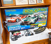 Digital Scalextric Super GT car racing game on display in house clearance auction sale room, UK