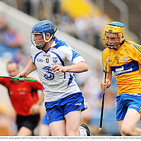 10 July 2011; Stephen Bennett, Waterford, in action against Niall O'Connor, Clare. Munster GAA Hurling Minor Championship Final, Clare v Waterford, Pairc Ui Chaoimh, Cork. Picture credit: Diarmuid Greene / SPORTSFILE